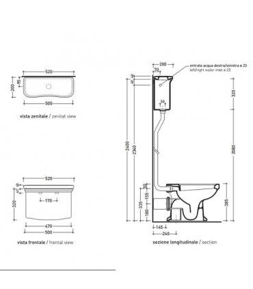 Flaminia Efi 6015/C Mechanism for cistern 6008, chrome
