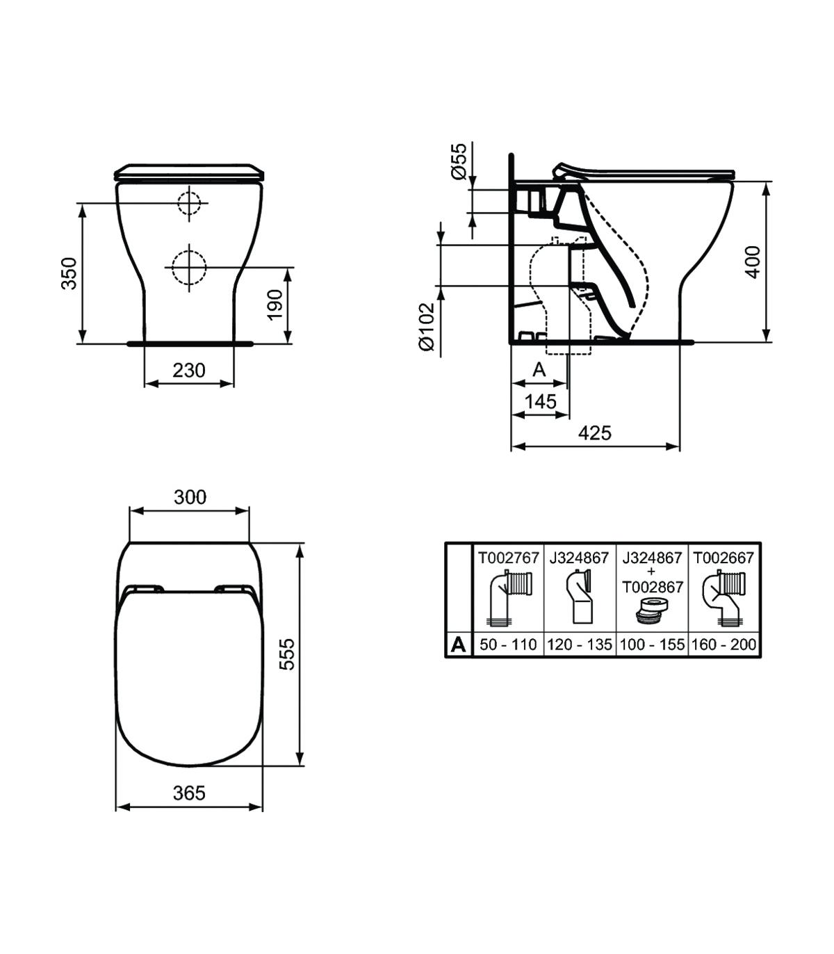 Sedile Water Ideal Standard Tesi.Floor Standing Toilet Back To Wall Ideal Standard Tesi Aquablade