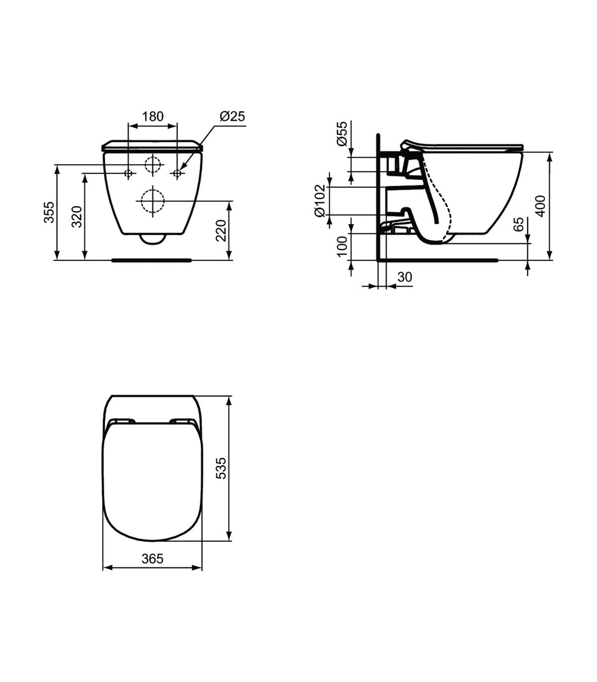 Sedile Water Ideal Standard Tesi.Wall Hung Toilet Ideal Standard Tesi Aquablade With Slim Seat