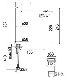 Single hole mixer for sink Grohe collection Euroeco