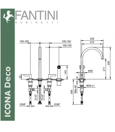 Handle made of crystal Fantini Venezia, with base gold