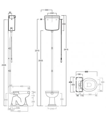 High cistern to be completed with wc lo901 or lo911, Simas collection Londra