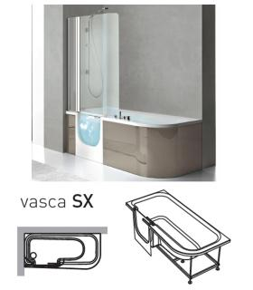 Baignoire gauche avec porte et cabine For All blanc sans robinet erie