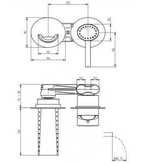 Shower platform, Lineabeta, series  Atlantica, model  7230, wood , triangular