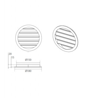 Kit de 2 grilles esthétiques externes à ailettes fixes en aluminium à peindre