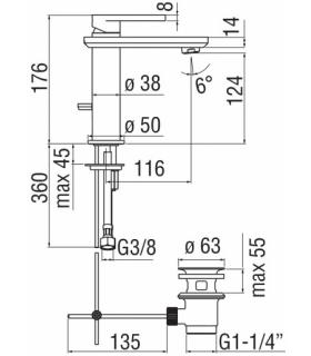 Flaminia, lavabo da appoggio o sospeso, serie acquagrande, art.5088 bi