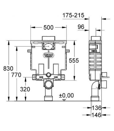 Cassetta incasso Grohe serie Uniset per wc sospeso. art.38415001