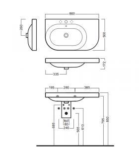 Cuve a'laver avec Meuble et porte machine a' laver, Geromin collection Forte