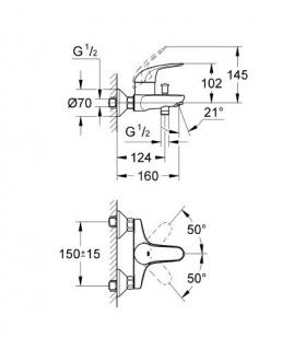 Lavabo sur pied/suspendu, Simas, collection E-Line en ceramique