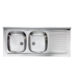 CM built-in stainless steel sink, 2 bowls, 86x50
