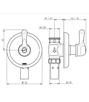 Shower box angular round, Ideal Standard collection Kubo R
