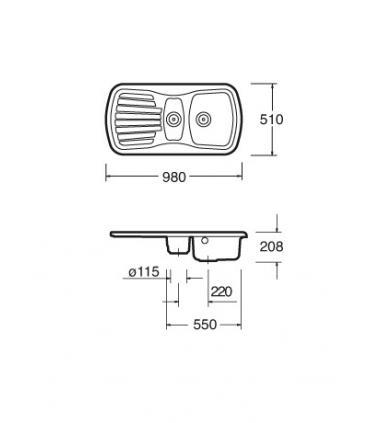 Angled lockshield valve 23 p1,5 Caleffi, for copper