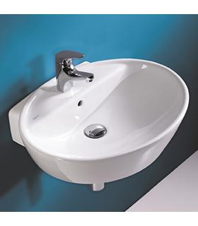 Washbasin oval wall hung Sanitana collection soft white ceramic.