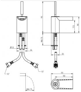 Lira double fitting for dishwasher, diameter 40mm connection F 1''1 / 2