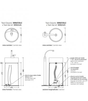 Freestanding column for washbasin, ceramic Flaminia collection Twin