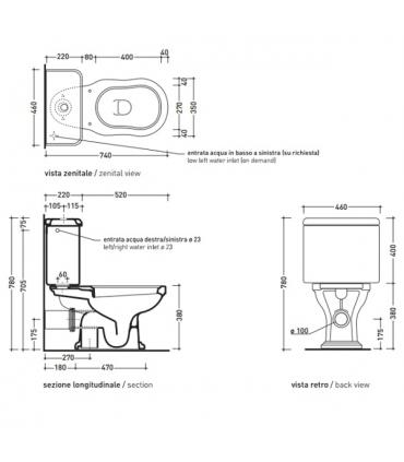 Flaminia Efi 6003 cassetta per vaso monoblocco, bianco