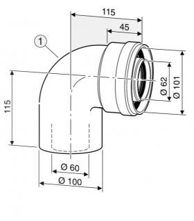 Kit curva a 90 , diametro 60/100 Junkers AZ366 7736995079