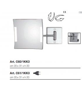 Specchio Ingranditore, Koh-i-noor, Serie Quadrolo Led, Modello C60