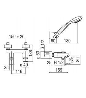 Baignoire droite avec cabine Nova blanc sans robinet erie
