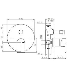 Baignoire bain à remous droit Mode blanc bouches blanches avec cadre