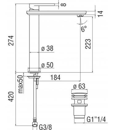 Column Washbasin, ceramic Flaminia, collection Bonola