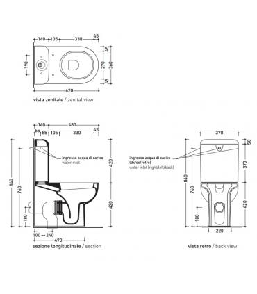 Flaminia Quick QK39 cassetta per wc monoblocco, bianco QK39